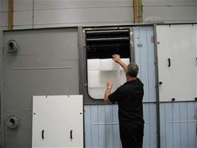 Large access hatch on a modular cooling tower (ATM/CRF series): One hatch per module